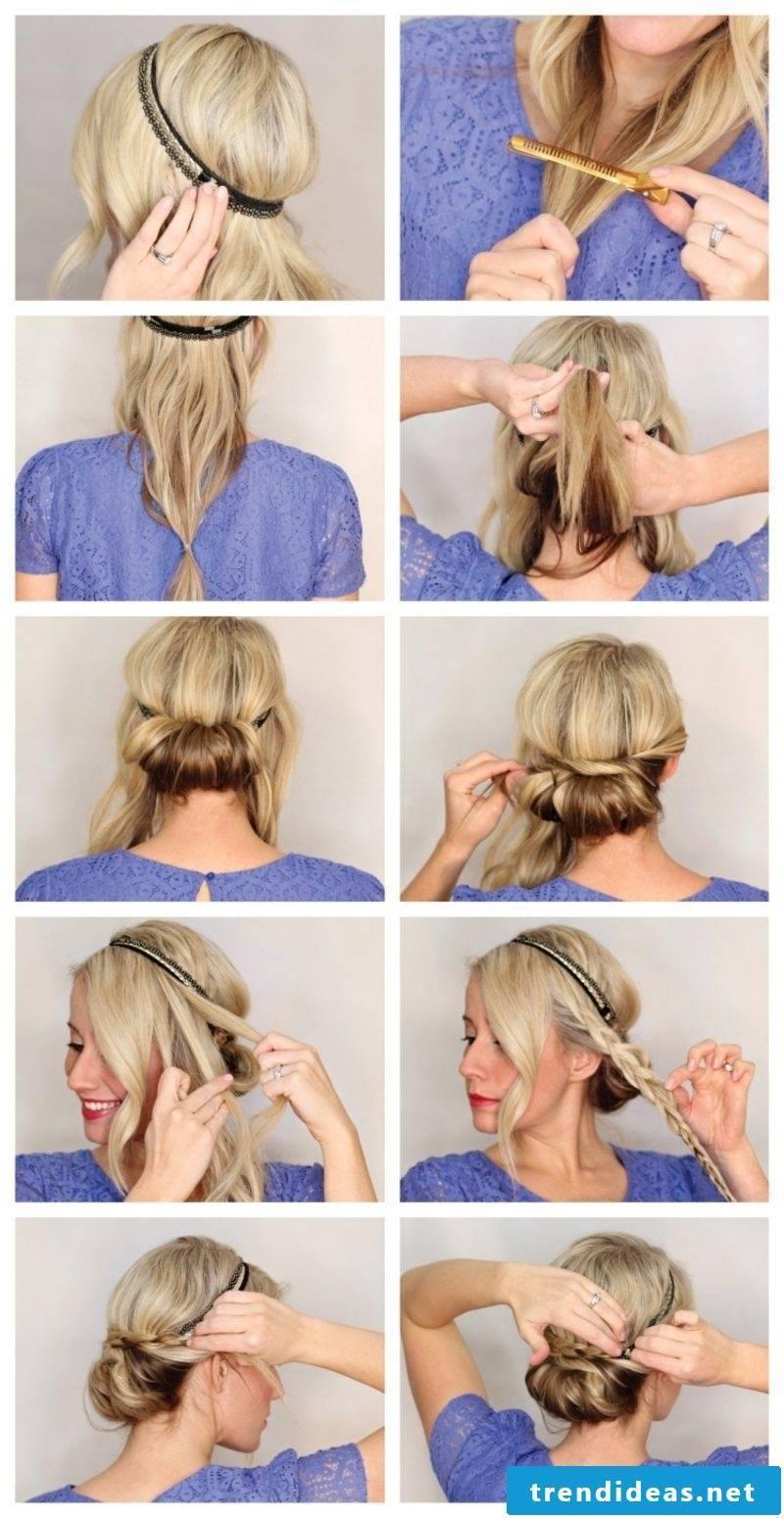 Hairstyles medium-length hair pinned hairband