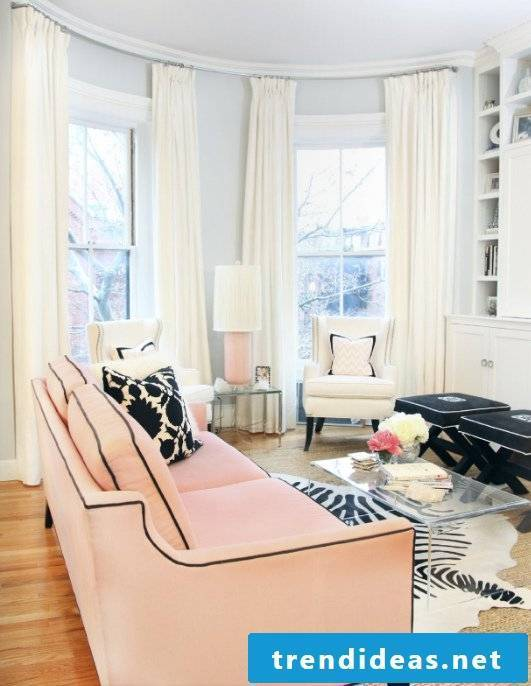 living room design ideas pink sofa glass table