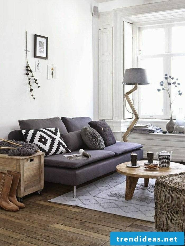 living room decorate sofa in purple