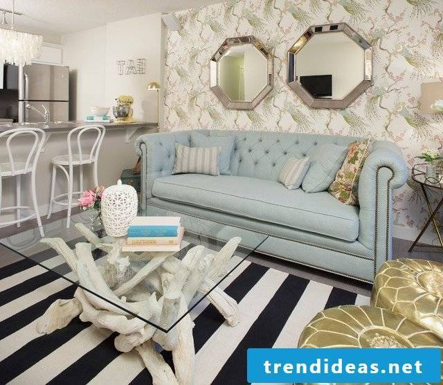 interior design living room sofa table glass carpet mirror