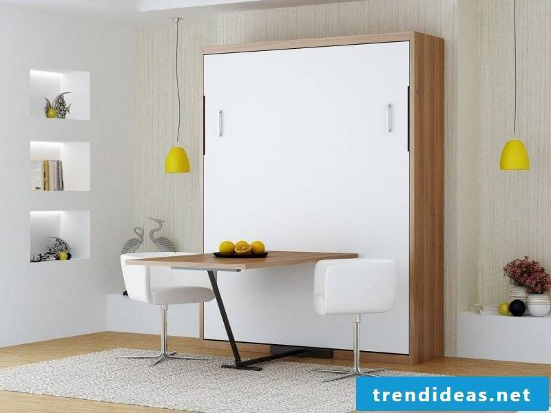 Wall bed with dining table