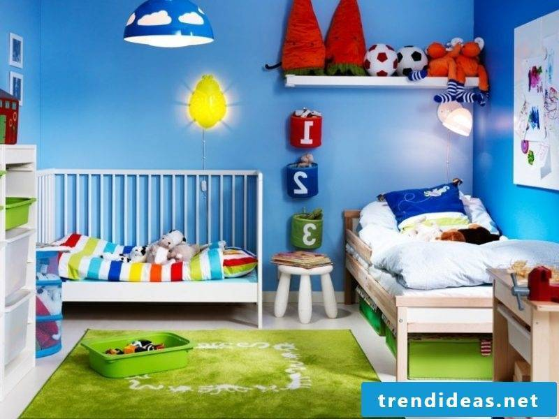 Nursery carpet and the walls can be in contrasting colors