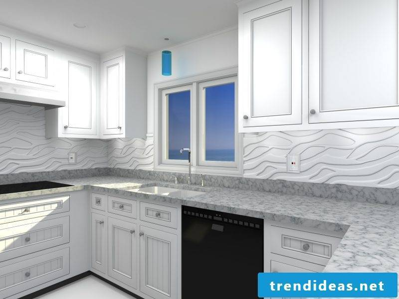 Splash guard for kitchen made of white panels
