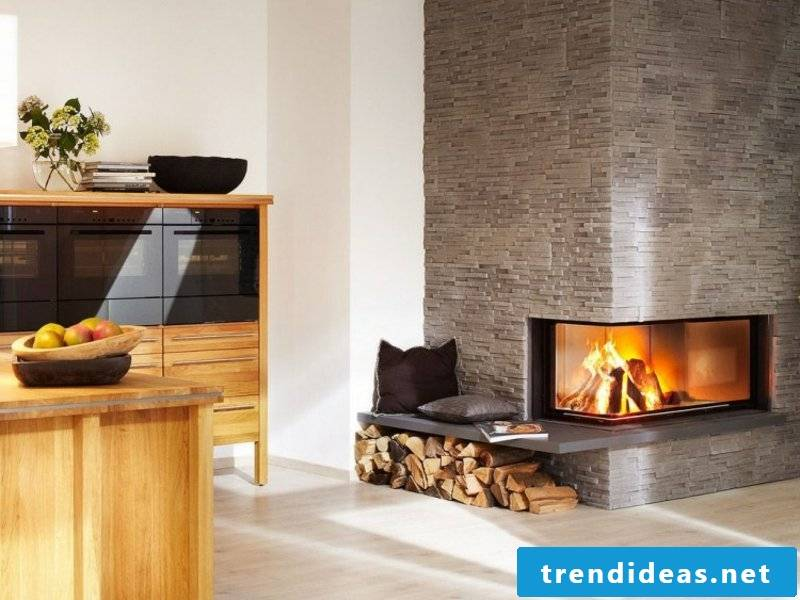 Stone look fireplace lining