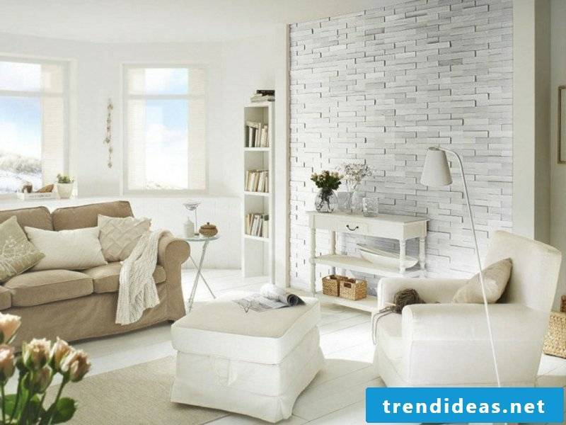 Stone wall in white