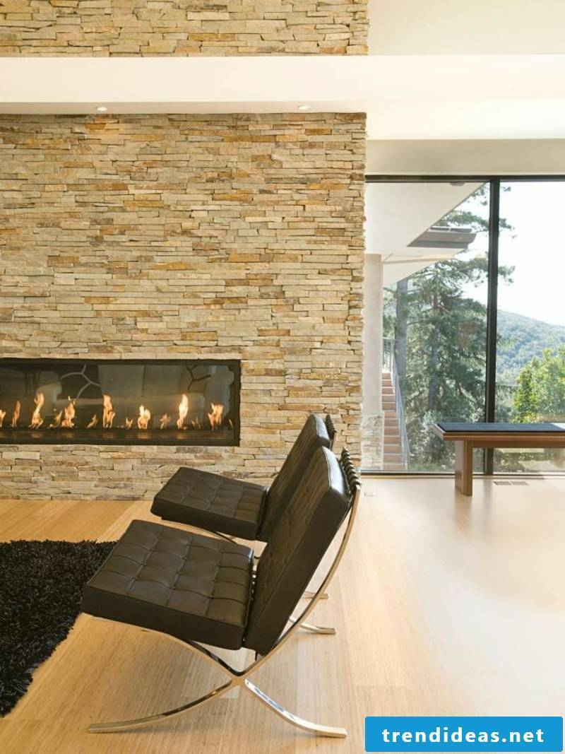 Stone look at wall covering living room design