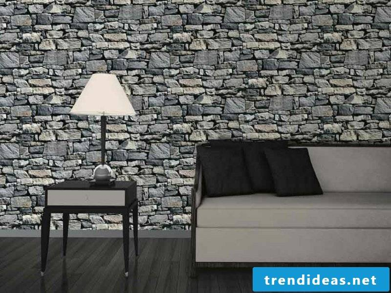 Wallpaper in stone look
