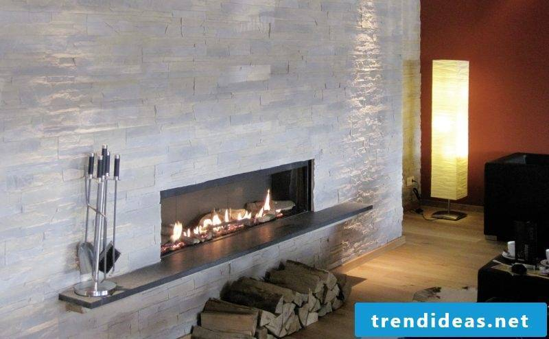 stone look wall fireplace