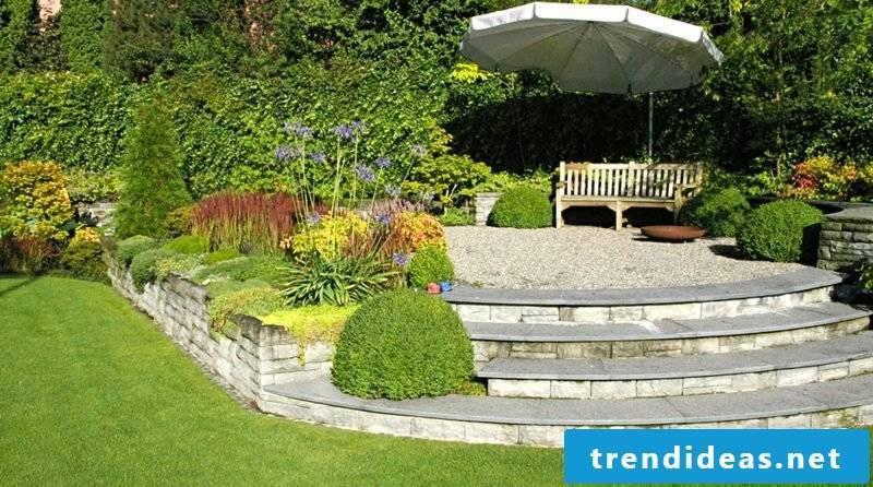 Stone wall garden terrace edging stairs