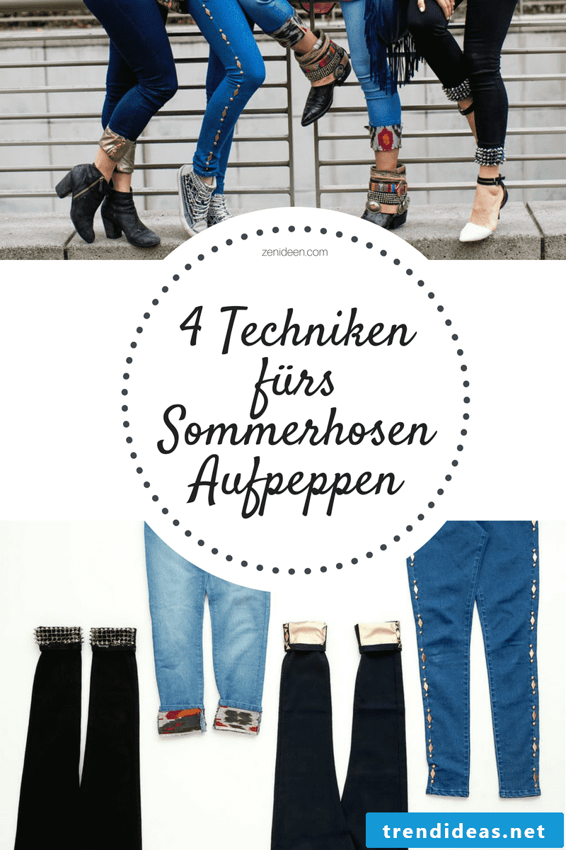 Redesign women's denim pants without stitching