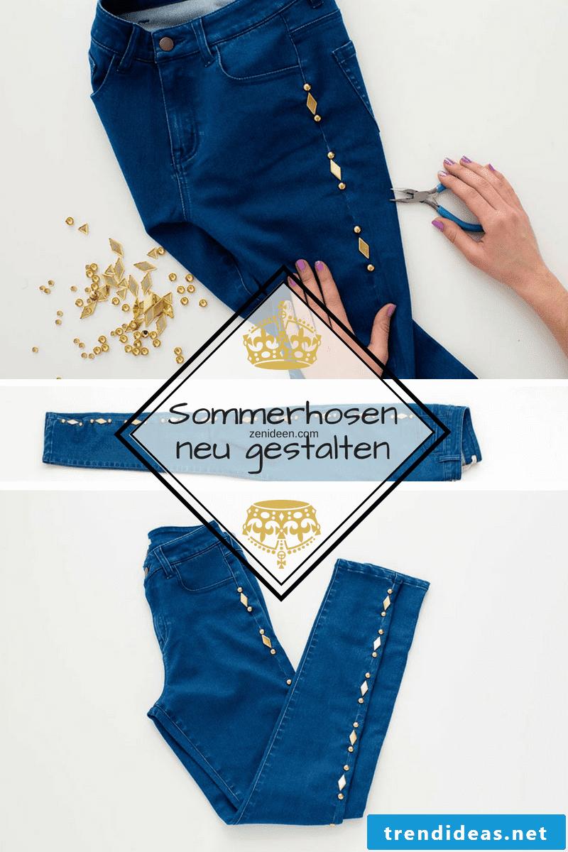 DIY lightweight summer pants made of denim with studs