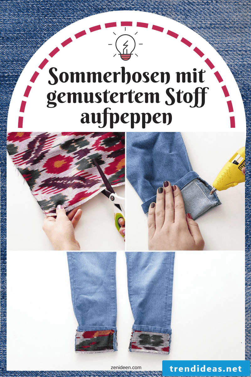 DIY colorful pants with patterned fabric