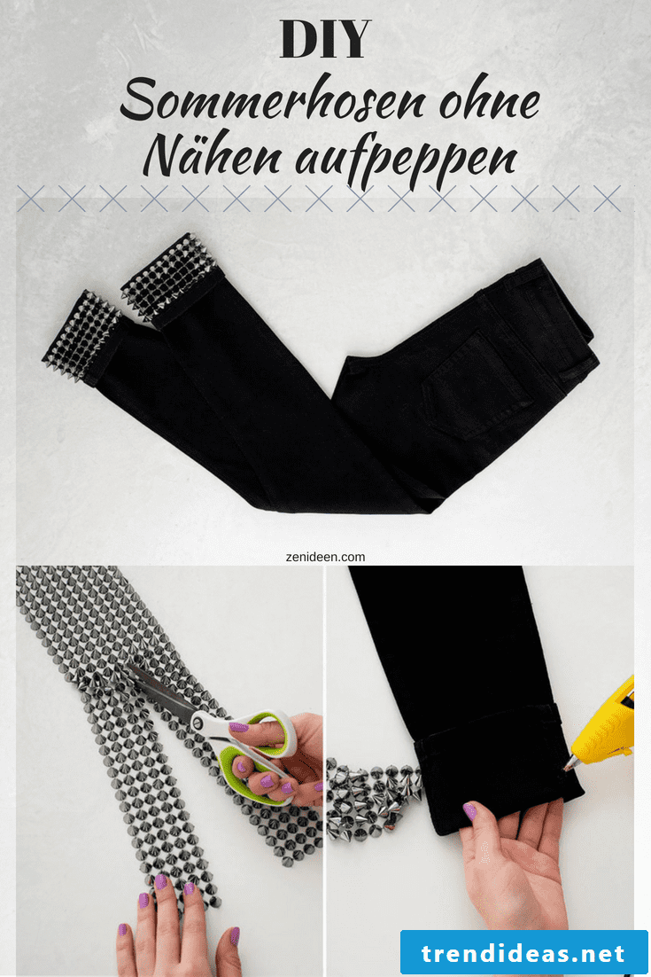 DIY women summer pants made of cotton with spickes