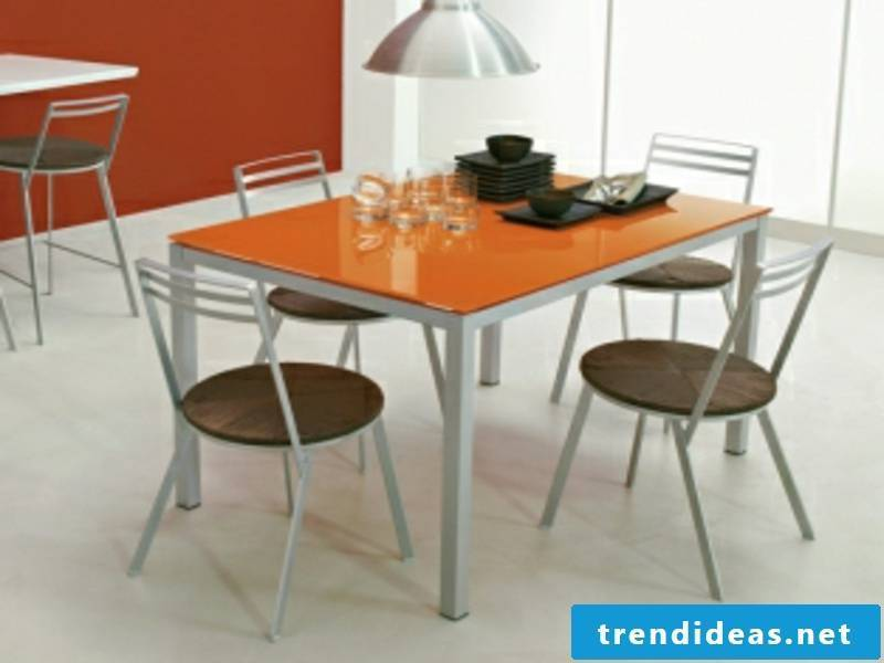 orange kitchen table