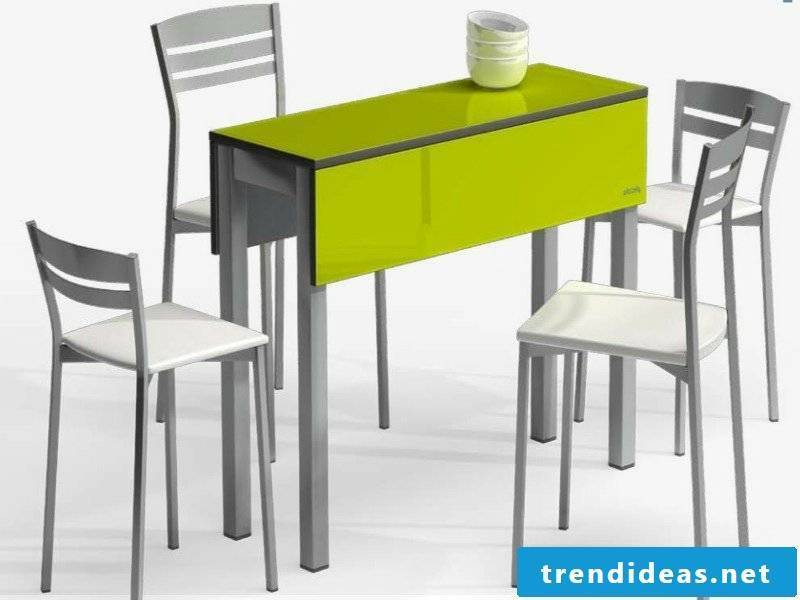 narrow green kitchen table