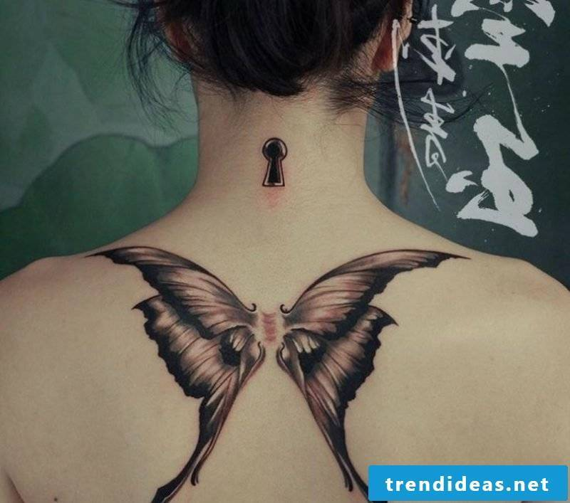Tattoo butterfly and keyhole big back
