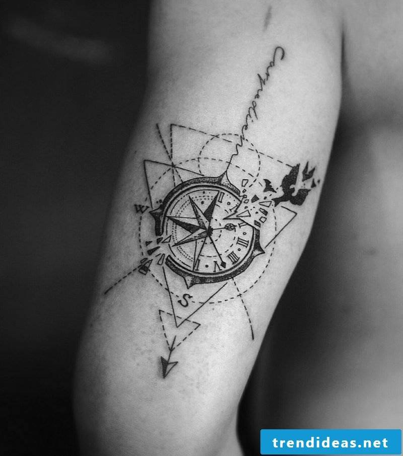 Compass tattoo template geometric