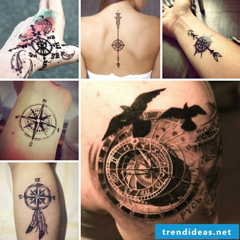 Tattoo compass great designs 3D optics