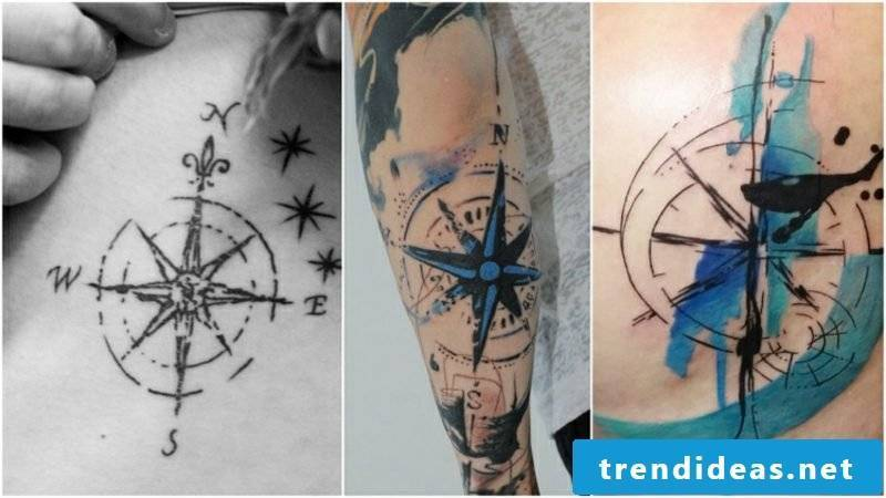 Compass Tattoo Template Watercolor
