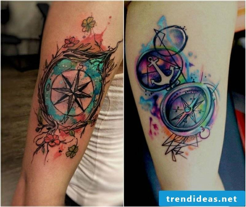 Compass tattoo template colorful watercolor