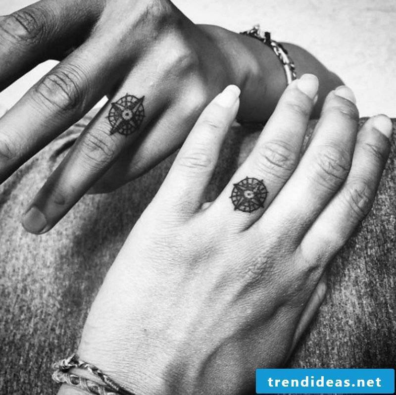 Tattoo saying family compass ring finger