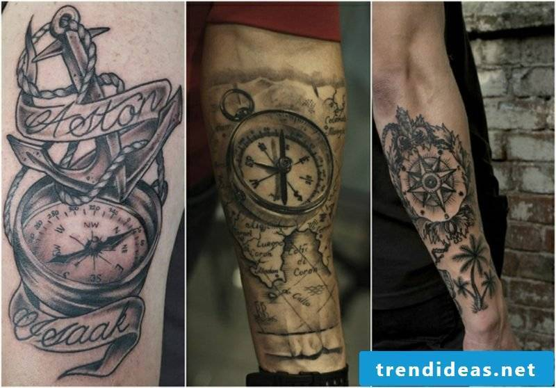 World map tattoo compass 3D optics man