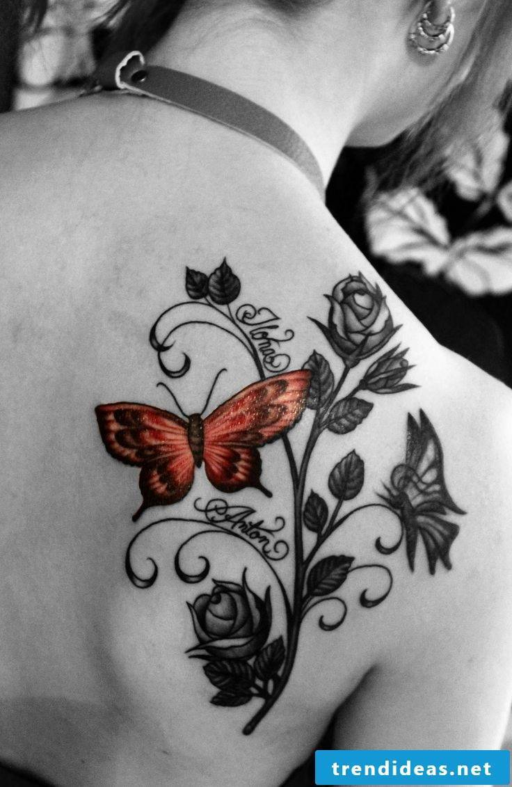 nice tattoo name with butterflies