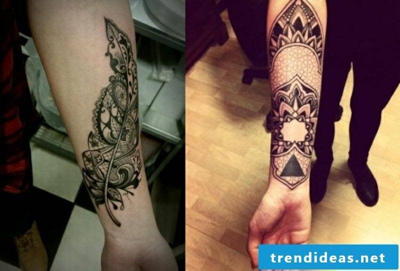 Tattoo on forearm creative ideas women geometric and floral motifs