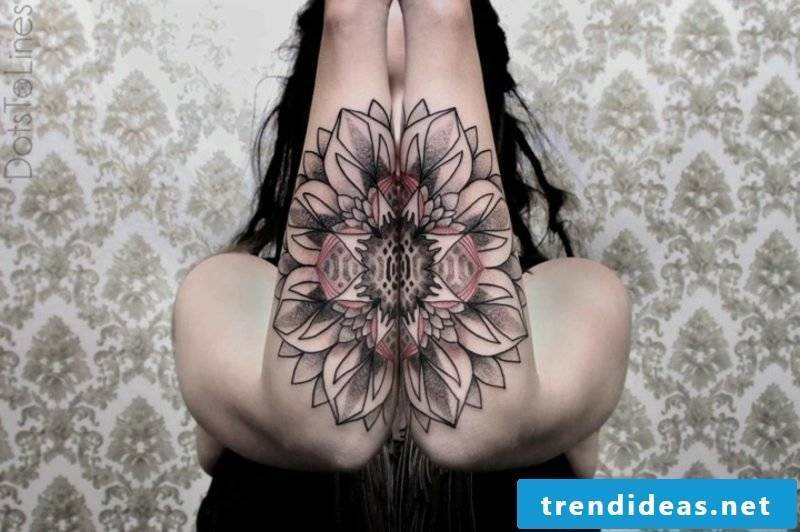 Tattoo on forearm woman flower geometric motifs original look