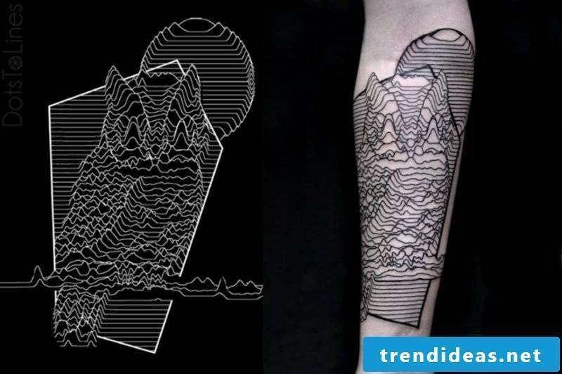 Tattoo on forearm man owl realistic illustration 3D effect