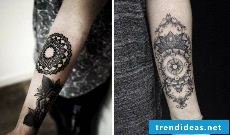 Tattoo on forearm woman geometric and floral motifs