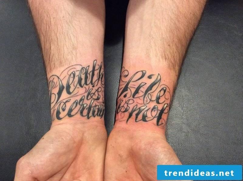 Tattoo lettering tattoo wrist