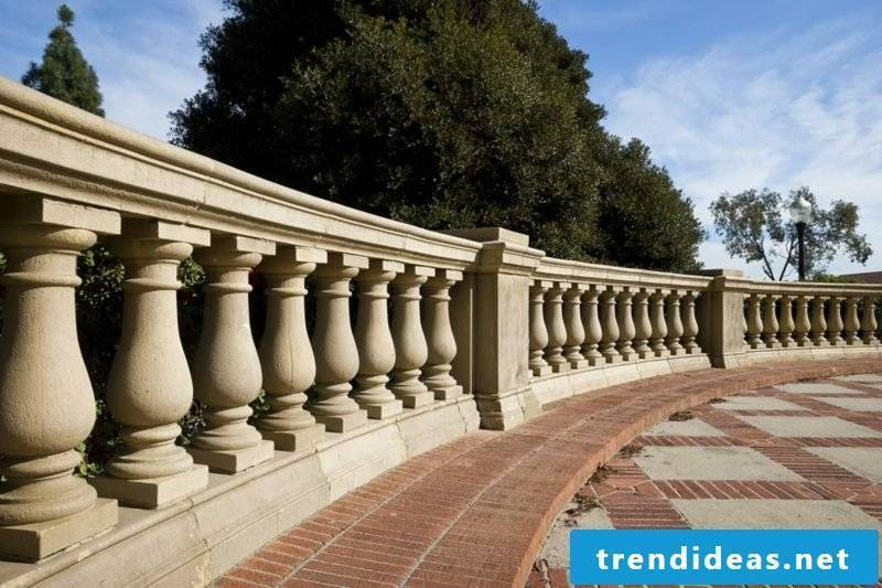 terrace railing carved in stone