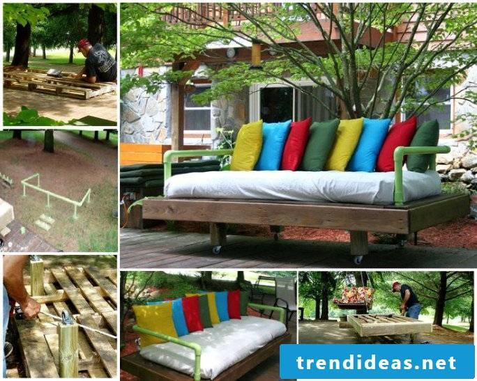 DIY sofa for garden terrace