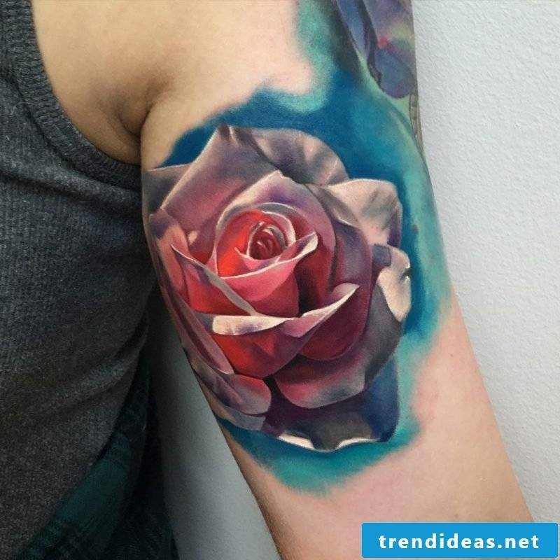 Stunning Tattoo Rose Upper Arm