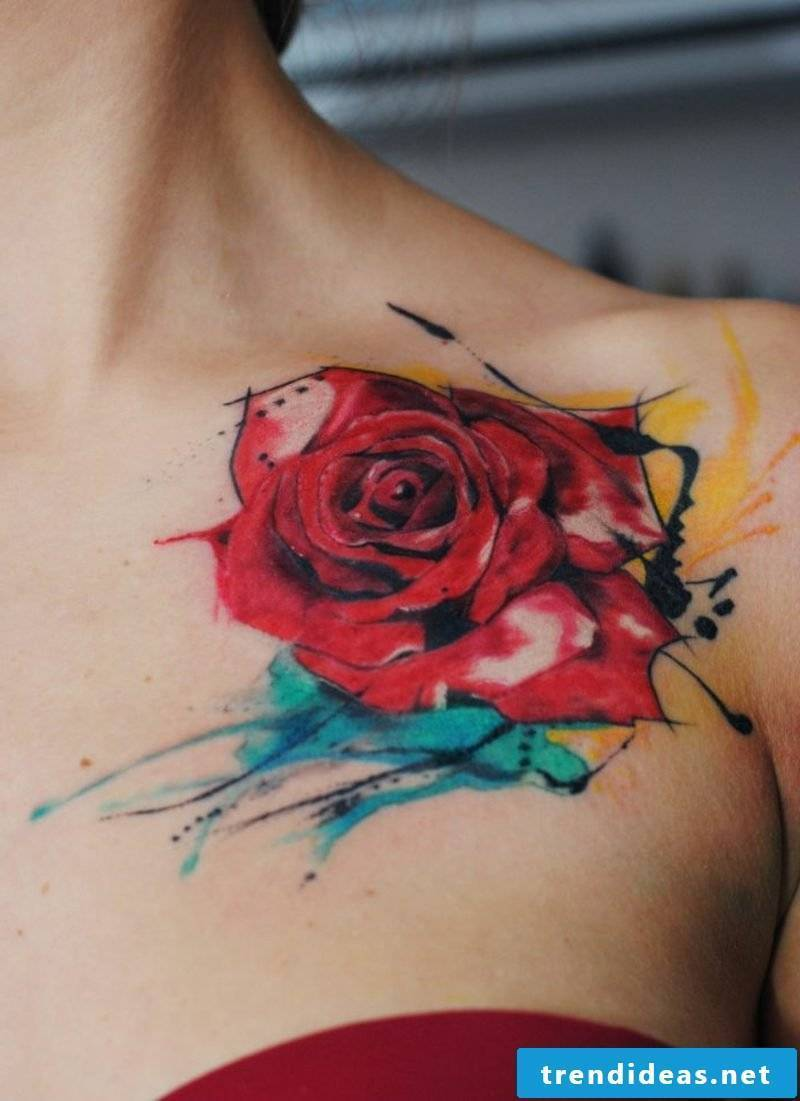 red rose shoulder tattoos for women