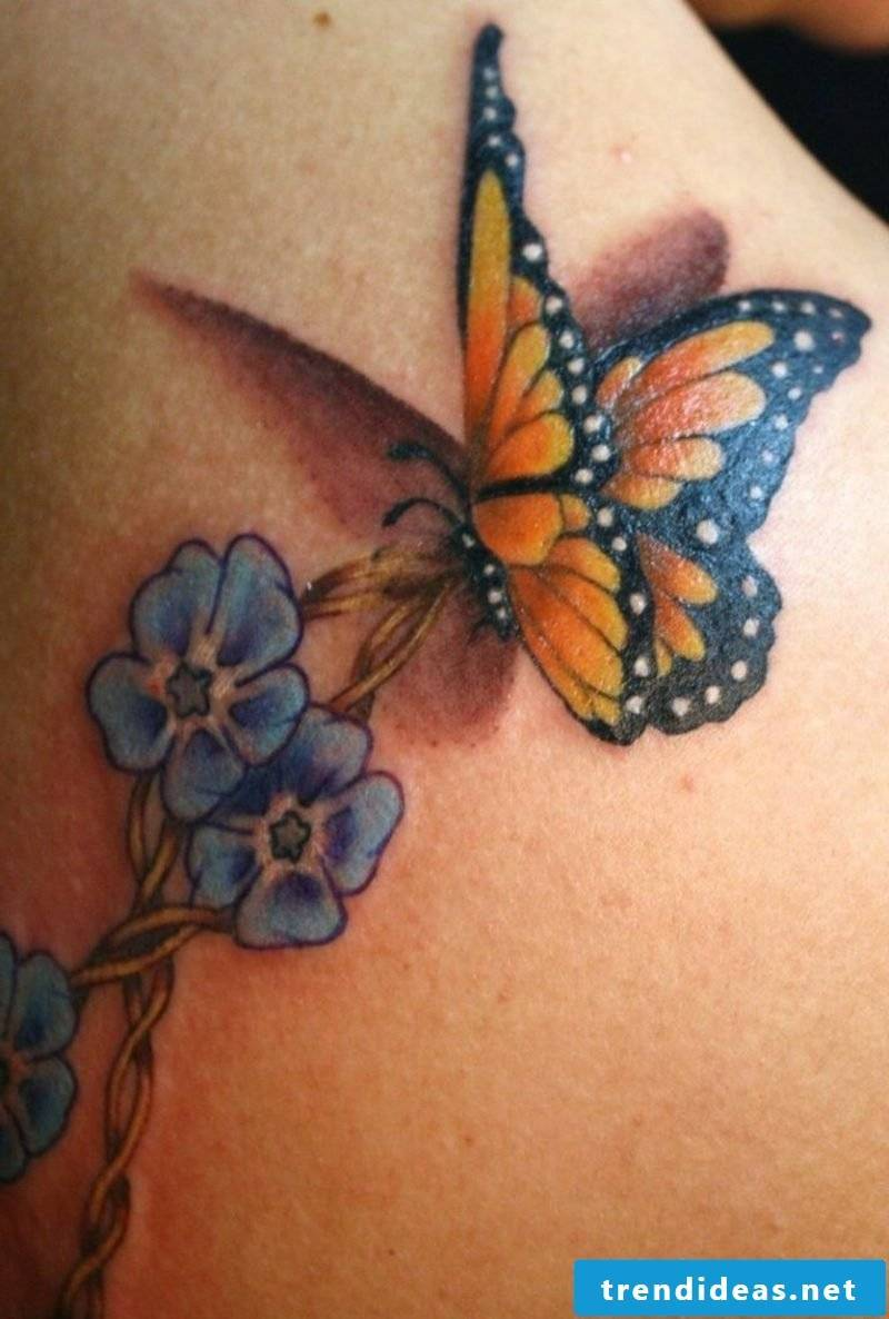 Butterfly tattoo monarch butterfly and flower