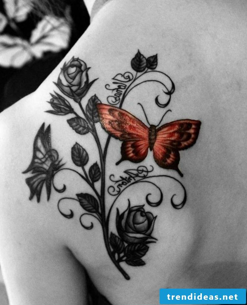 Butterfly tattoo with writings