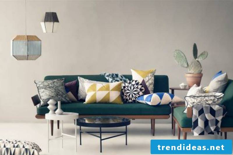 decorative colored pillows living room