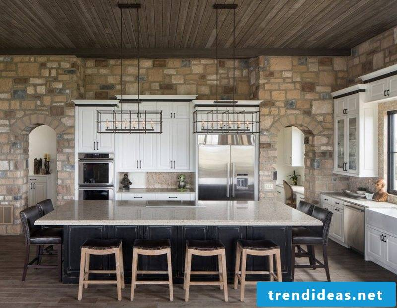 Wall panels with stone look for the whole kitchen