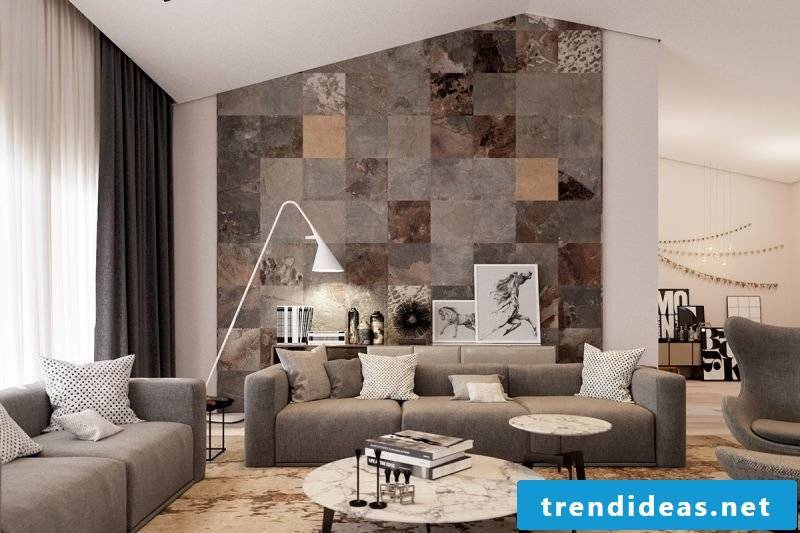 Wall panels with stone look as decorative elements