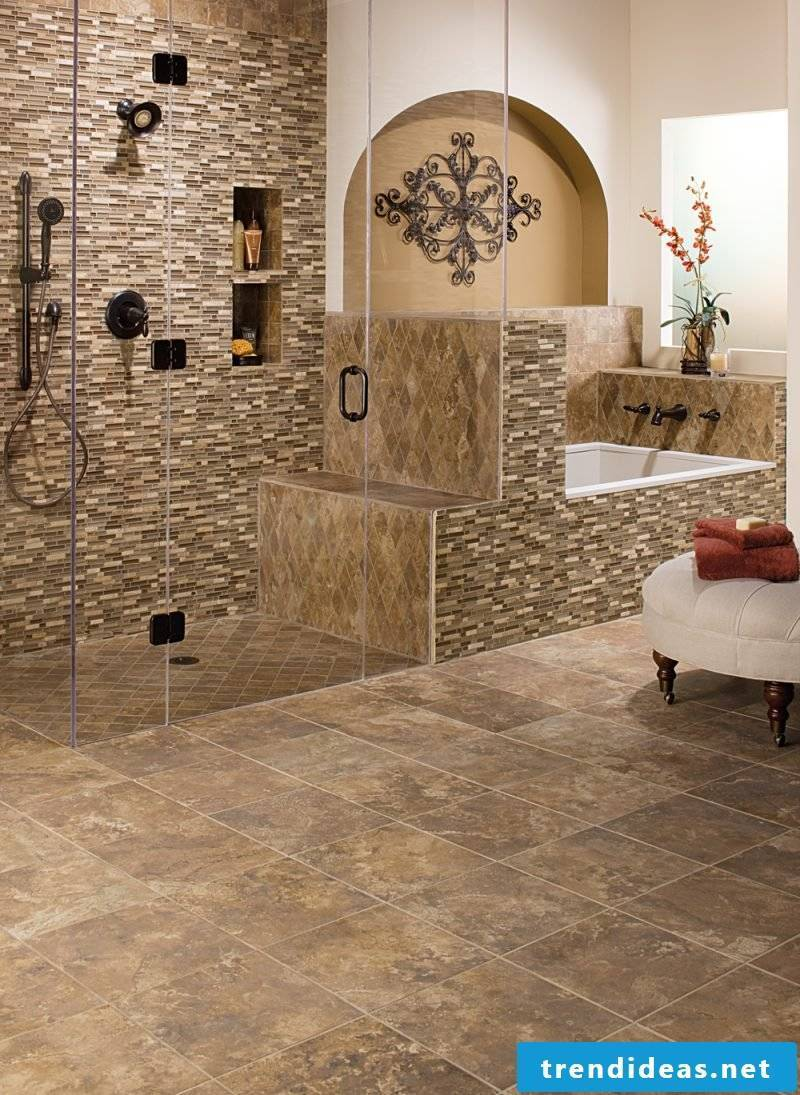 Wall panels with stone look in the shower area