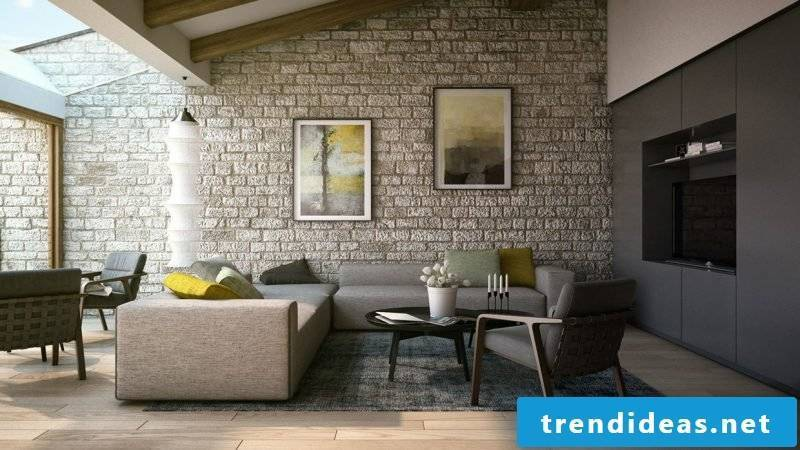 Wall panels with stone look for the living room