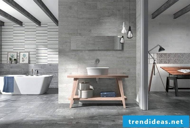 Concrete look gives the bathroom an industrial look