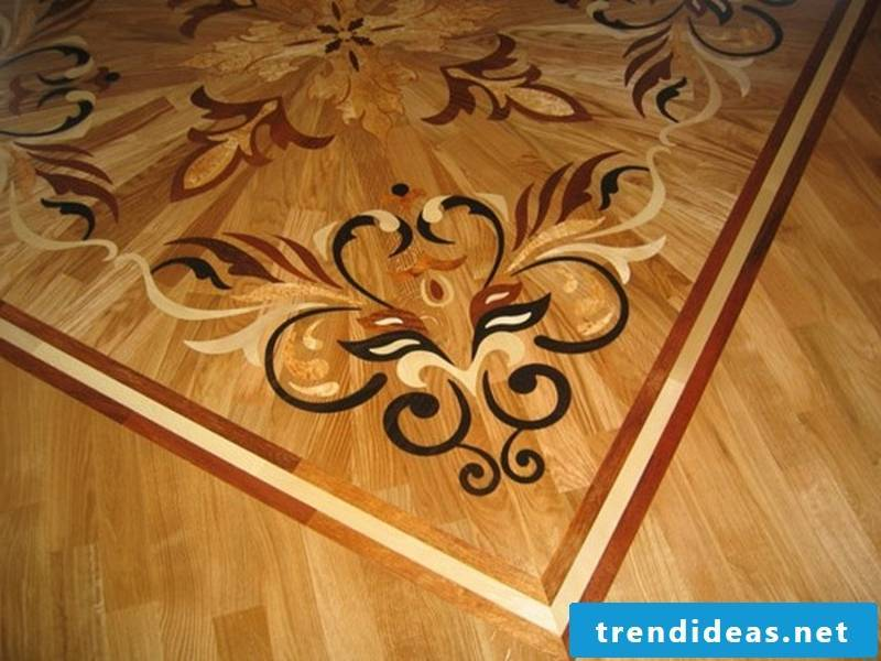 solid parquet with art decoration