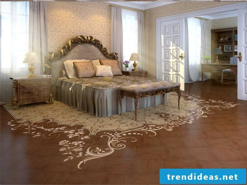 bright parquet decoration in the bedroom
