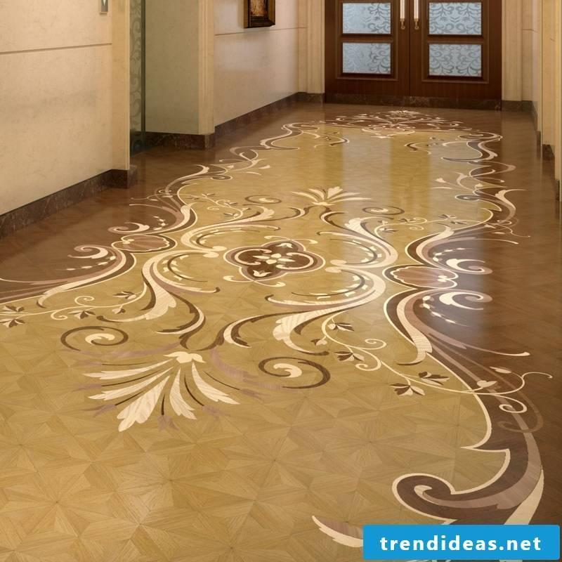 beautiful parquet decoration on the floor