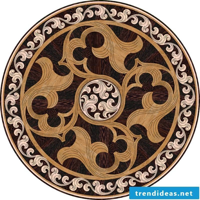 interesting round parquet decoration