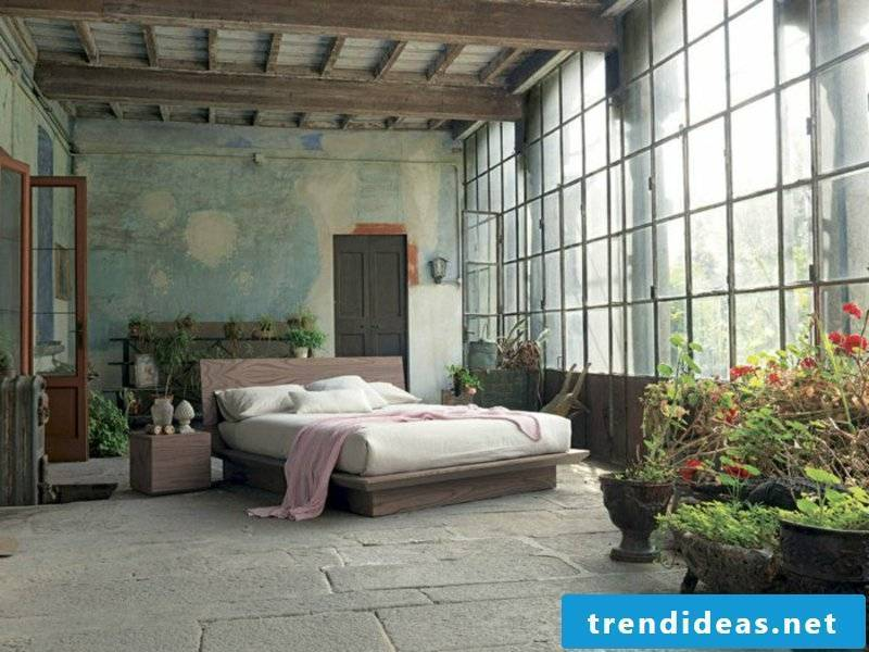 rustic bedroom design with plants