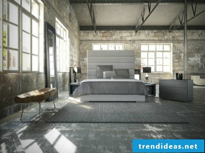 modern bedroom design with gray carpet